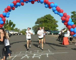 July 4, 2013 Rebecca Brown & Hailey Ellsworth finishing 5K